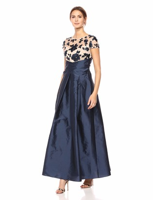 Adrianna Papell Women's Short Sleeve Sequin Bodice Silky Taffeta Dress