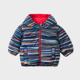 Paul Smith Baby Boys' 'Stripe Stick' Print Reversible Hooded Down Jacket