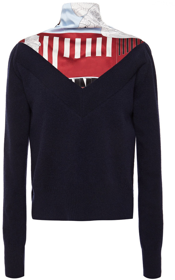 Cédric Charlier Knotted Printed Satin-twill Paneled Wool-blend Sweater
