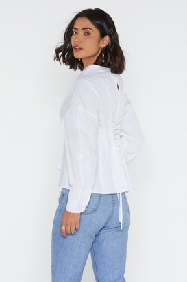 Nasty Gal Womens Lace-Up To It Pleated Shirt - White - 6, White