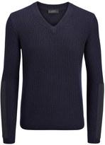 Joseph Military Cashmere V Neck Sweater in Navy