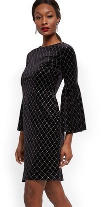 New York & Co. Black Velvet Bell Sleeve Shift Dress