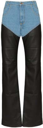 Telfar High-Waisted Denim And Leather Trousers