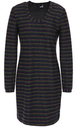 Love Moschino Striped Metallic Stretch-jersey Mini Dress