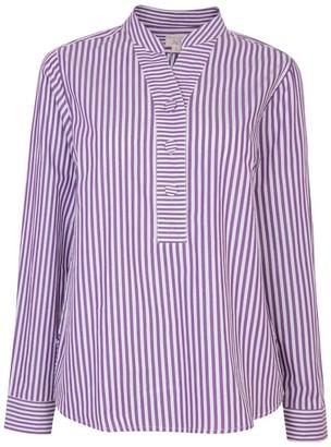 Nologo Chic Cotton Poplin Stripe Gigi Blouse - Violet