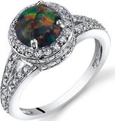 Ice 1 CT TW Lab-Created Black Opal Sterling Silver Halo Fashion Ring with CZ Accents