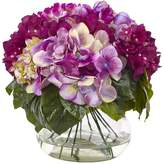 Nearly Natural Multi Multi-Tone Beauty Hydrangea with Round Glass Vase