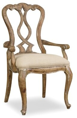 Hooker Furniture Chatelet Upholstered Queen Anne Back Arm Chair in Amber and Caramel (Set of 2