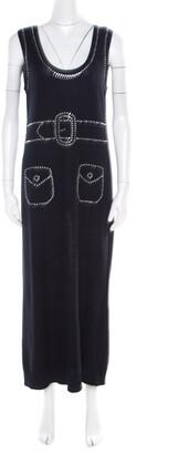 Sonia Rykiel Navy Blue Purl Knit Sleeveless Trompe L'oeil Diamante Maxi Dress L