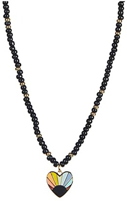 Rebecca Minkoff Beaded Rainbow Heart Pendant Necklace (Gold/Black) Necklace