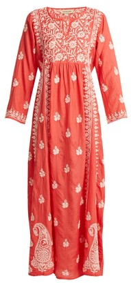 Muzungu Sisters - Floral Embroidered Silk Dress - Womens - Pink