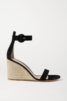 Gianvito Rossi Portofino 85 Suede Espadrille Wedge Sandals - Black