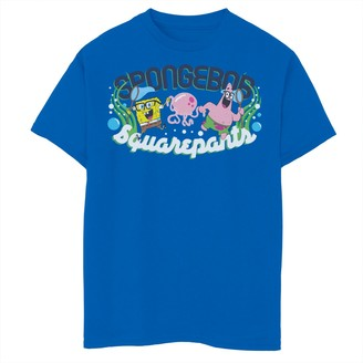 SpongeBob Squarepants Licensed Character Boys 8-20 Patrick Catch Jellyfish Short Sleeve Tee