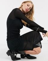 AllSaints francesco jersey midi dress in black