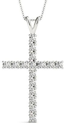 14KT Gold 0.50 CT Petite Cross Religion Diamond Pendant Necklace Amcor Design