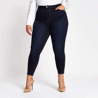 River Island Womens Plus dark Blue Hailey high rise jeans