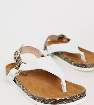 Kaltur Exclusive white leather snake mix toe thong sandals-Beige