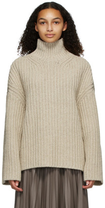 Nanushka Beige Wool and Silk Raw Turtleneck