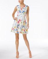 Betsey Johnson V-Back Printed Lace Fit & Flare Dress