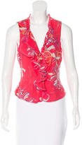 Cacharel Sleeveless Floral Print Top