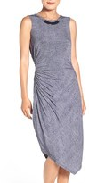 London Times Women's Gathered Denim Jersey Dress
