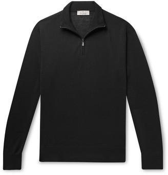 Canali Merino Wool Half-Zip Sweater - Men - Black