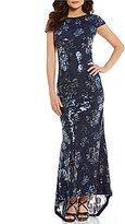 Calvin Klein Sequin Floral Drape-Back Gown