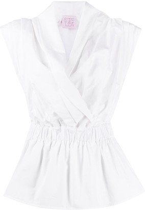 Stella Jean Pleated Wrap Shirt