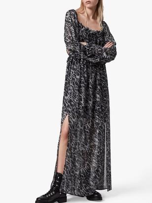 AllSaints Kimi Ambient Animal Print Maxi Dress, Pale Grey
