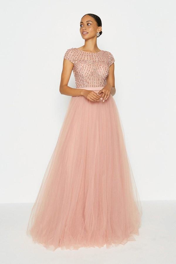 Coast Cap Sleeve Glitter Tulle Skirt Maxi Dress
