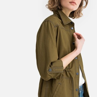 La Redoute Collections Longline Cotton Utility Jacket with Drawstring Waist