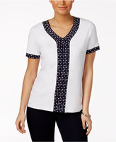 Alfred Dunner Seas the Day Dot-Trim Top