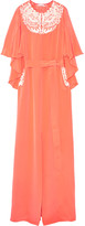 Oscar de la Renta Embroidered cape-effect silk-crepe gown