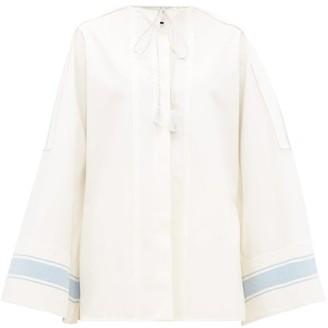 Jil Sander Tie-neck Cotton Wide-sleeve Shirt - White Multi