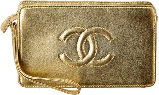Chanel Gold Lambskin Leather Cc Clutch