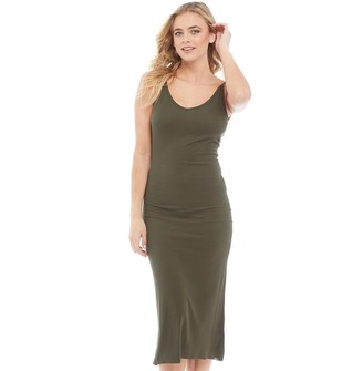 Brave Soul Womens Rib V-Neck Midi And Low Back Dress Khaki
