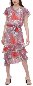Calvin Klein Paisley-Print Ruffle-Hem Dress