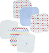 Sweet & Soft Blue & Red Washcloth - Set of Six