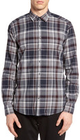Sand Trim Fit Plaid Sport Shirt