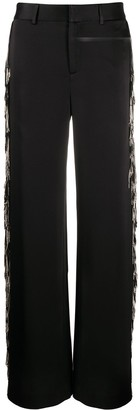 Monse Fringed Satin Wide-Leg Tuxedo Trousers