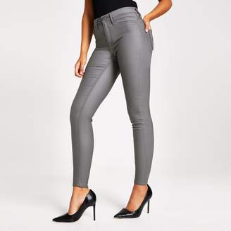 River Island Womens Grey coated Molly mid rise jegging