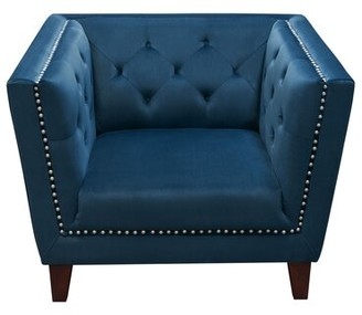 Grand Armchair Diamond Sofa Fabric: Blue Velvet