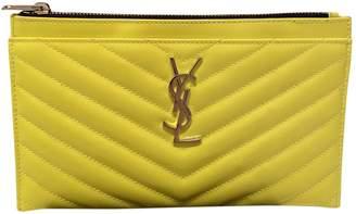 Saint Laurent Yellow Patent leather Clutch bags