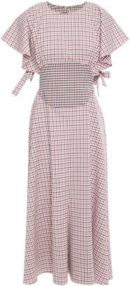 Rosie Assoulin Cutout Checked Stretch-wool Midi Dress