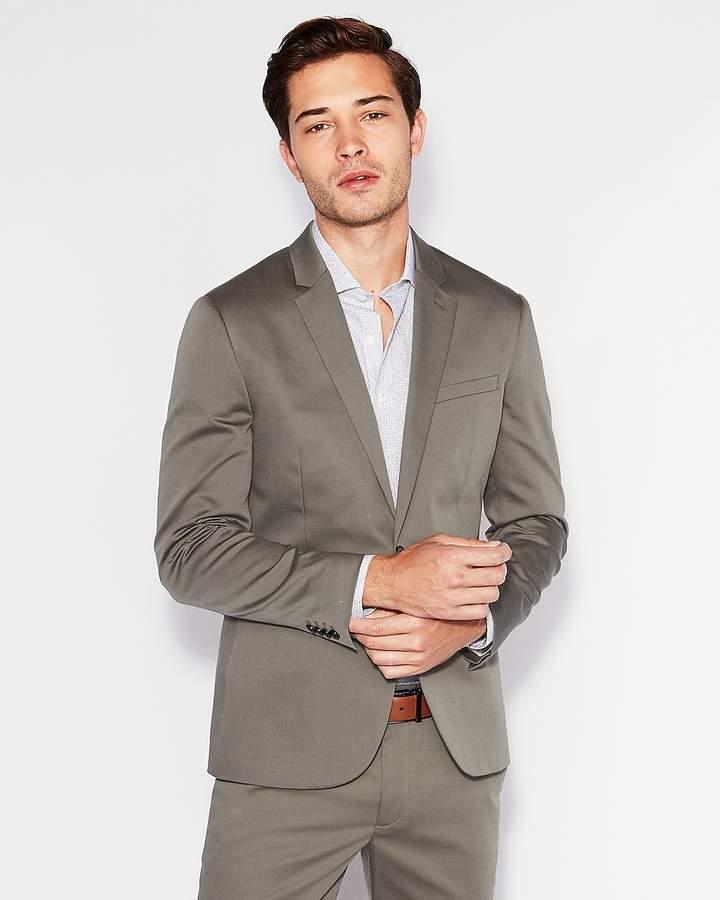 Express Extra Slim Green Cotton Sateen Suit Jacket