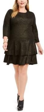 Michael Kors Michael Plus Size Metallic Tiered Dress