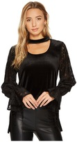 Kensie Smooth Velvet Top with Lace Sleeves KSNK36S8 Women's Clothing