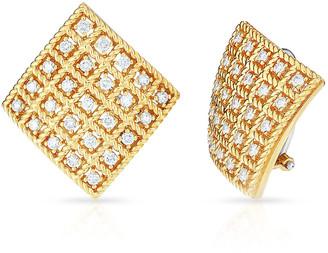 Roberto Coin Byzantine 18k Gold Diamond Square Stud Earrings