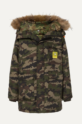 BRUMAL Hooded Faux Fur-trimmed Camouflage-print Shell Down Parka - Army green