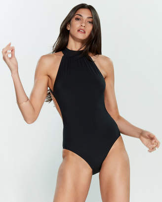 Michael Kors Black High Neck One-Piece Swimsuit